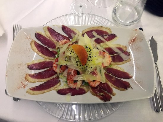 AQUA By Lexus - Fish Restaurant: Gambero rossa, petto d'anatra e reggiano 30 mesi