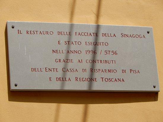 Sinagoga di Pisa: plaque