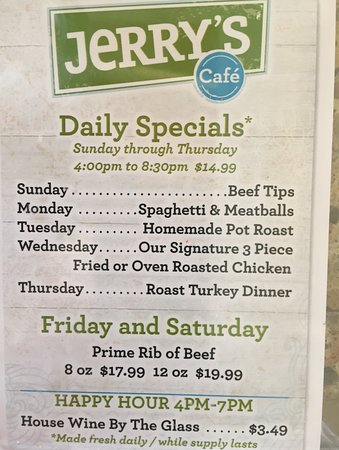 Jerry's Foods: specials for dinner (after 4:00 p.m.)