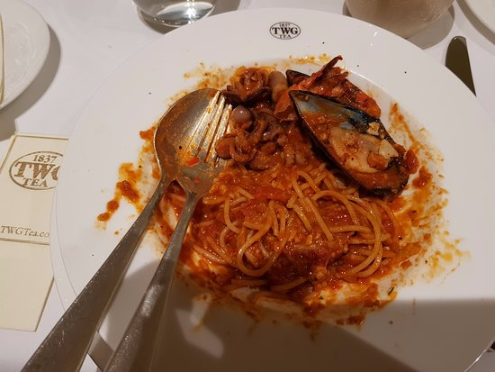 TWG Tea Garden at Marina Bay Sands: Leftover seafood marinara that we won't recommend
