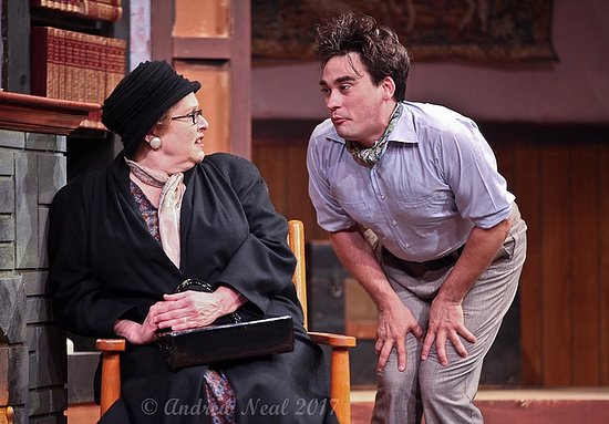 "Michigan City, IN: Mrs. Boyle (Eileen Long) and Christopher Wren (Peter Newman) meet during ""The Mousetrap"", 2017."