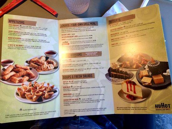 HuHot Mongolian Grill: Inside menu.