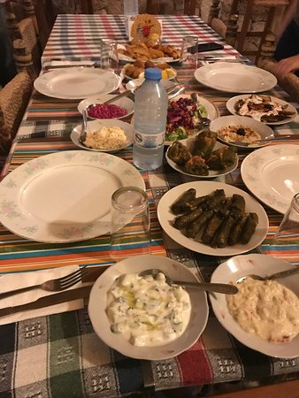 Teo's Restaurant & Bar : Cypriot dinner included things like beetroot and yogurt mash, fried aubergines with garlic yogur