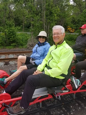 Shelburne, VT: Pedaling a rail car