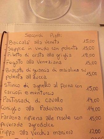 Antica Osteria Dal Capo menu