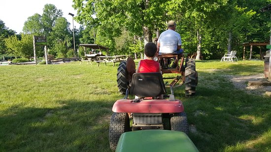 Christian Way Farm & Mini Golf: Sam and I on the tractor train.