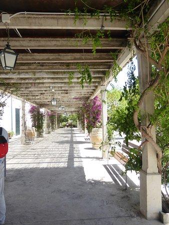 Muro, Hiszpania: Pergola con bouganvillas