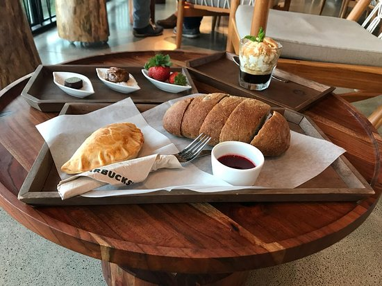 Province of Alajuela, Costa Rica: Local strawberry bread with home made butter, Afagato and the flight