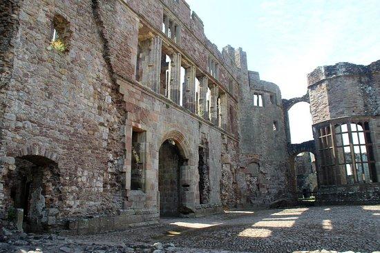Raglan Castle: walls and windows