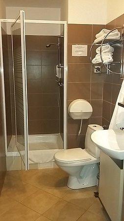 Hotel Aslan : Wygodna łazienka z dużym brodzikiem, pojemnikami z szamponem i mydłem oraz zainstalowaną suszark