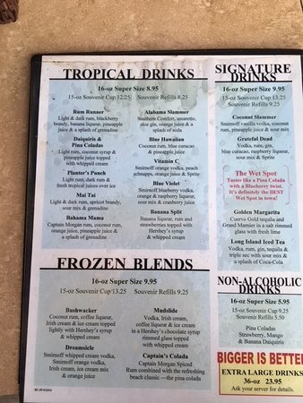 Jimmy B's Beach Bar : Menu