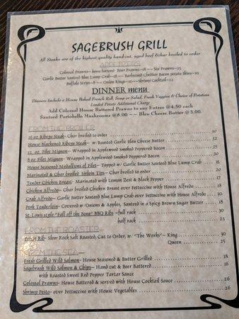Sagebrush Grill: Menu