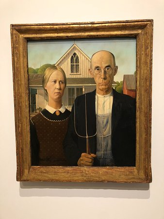 Whitney Museum of American Art Admission Ticket: FAMOUS Pic of Grant Wood's sister & dentist