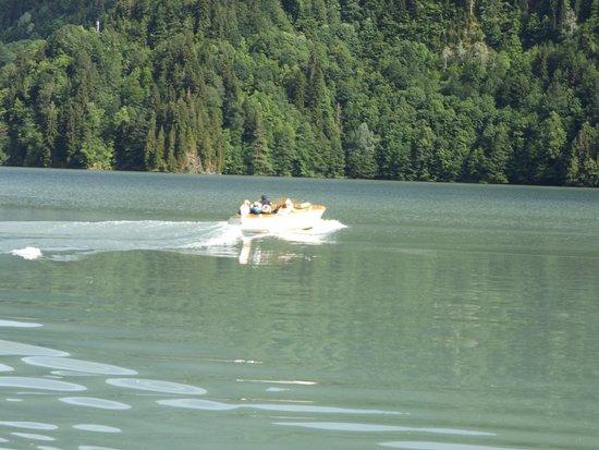 Lake Rica: Nikita Kruchev's power boat on Lake Ritsa (Lake Rico)