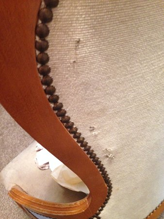 Valley, UK: CAE GLAS, Anglesey - multiple staples through back of chair