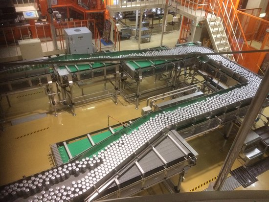Asahi Breweries Suita Brewery: Many cans of beer