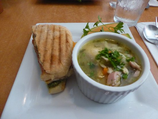 Nibbles Eatery: Half a Chicken Bacon Panini and a Cup of Chicken Orzo Soup