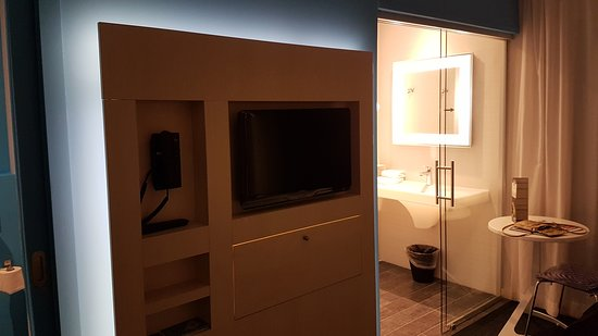 Ibis Styles Nivelles: TV samt badeværelse (TV and bathroom)