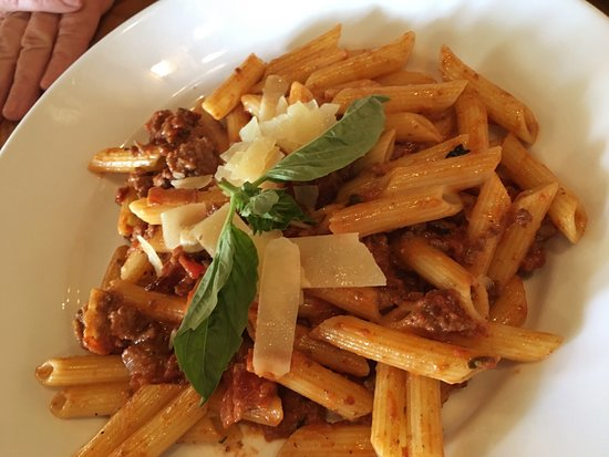 Davidsonville, MD: Penne Bolognese (ground beef, bacon, tomato cream sauce)