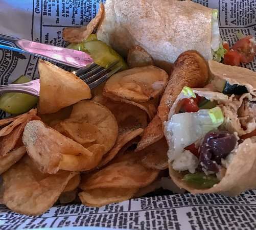 The Parkway American Grill: Mediterranean Wrap with Home Made Chips