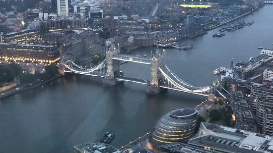 Tower Bridge and City Hall from The View from The Shard before the sun fully set