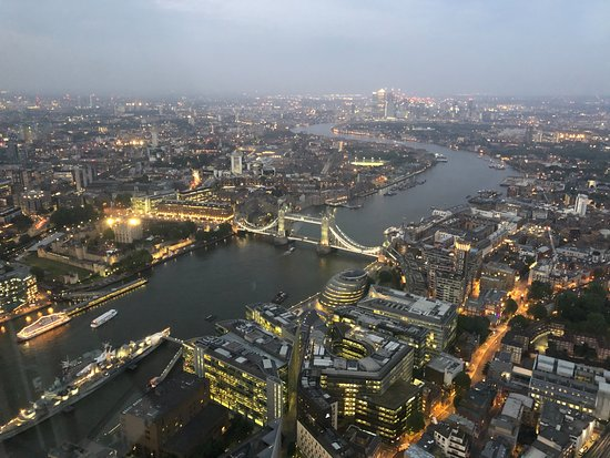The View from The Shard: St. Paul's and the City starting to light up at dusk