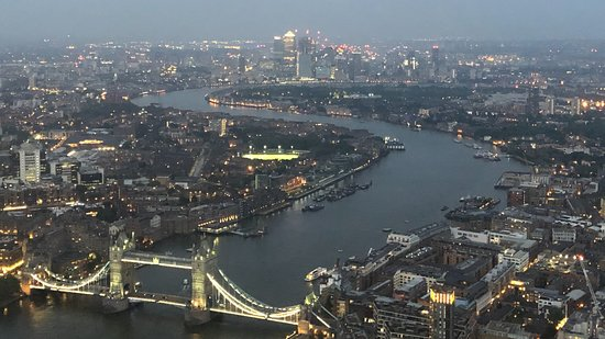 Tower Bridge and City Hall from The View from The Shard with the sun setting