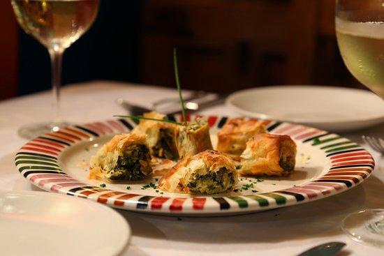 Zatar: Borekas: Fillo pasty stuffed with leeks, greens, fresh herbs and feta
