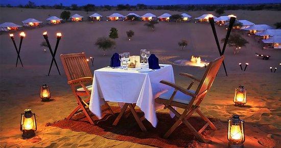Spirit Desert Camp: Personalized Dinner Set up in Dunes