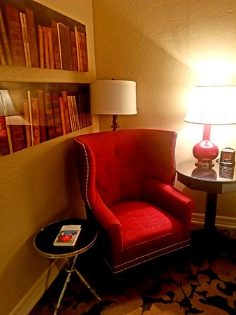 The Cheshire: A reading chair with a book is in each room and the book is by the author named on the door!