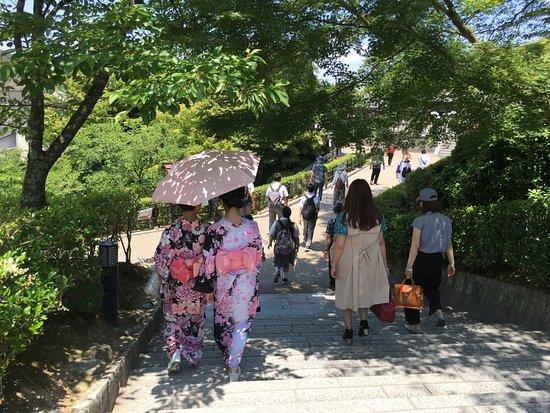วัดคิโยมิซุ: 2 generations of women - in kimonos and sneakers.