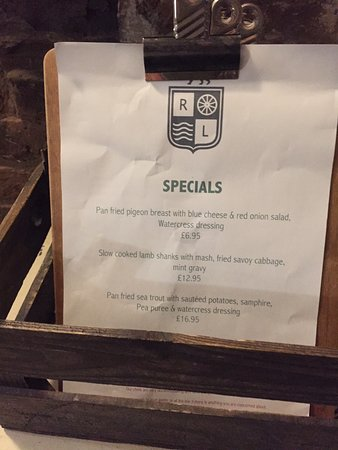 The Red Lion Inn : The Red Lion's Specials menu