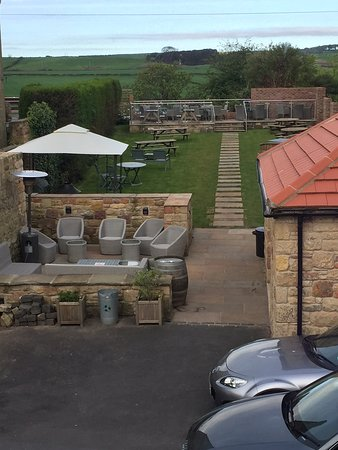 The Red Lion Inn : View from Room 8 - parking for 3 plus new outdoor area with view across to the Sea