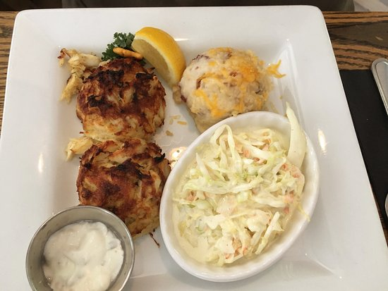 Crownsville, MD: Twin Maryland Crab Cakes (broiled, MD lump & jumbo lump) w/ mashed potatoes, coleslaw, tartar, l