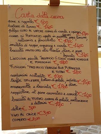 Trattoria Vino E Cibo: Menu del giorno