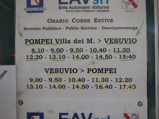 Vesuvius National Park: The blue bus schedule - they do not accept Arte Card!