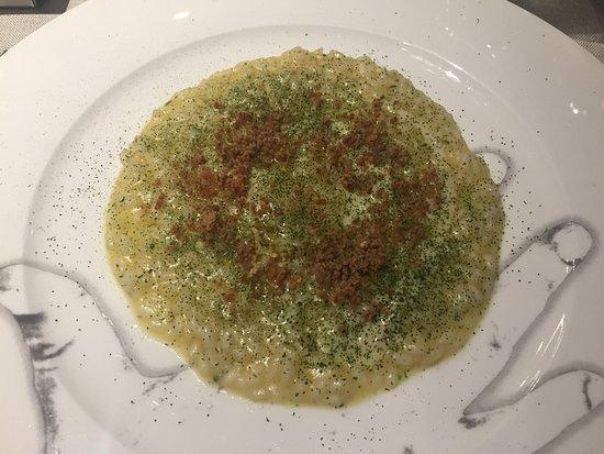 Cannavacciuolo Bistrot Torino: Riso aglio, olio, bottarga e limone