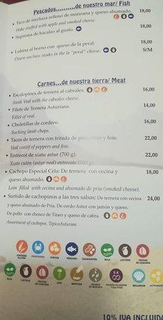Belmonte de Miranda, Spain: hoja 3 de la carta, especificando alérgenos
