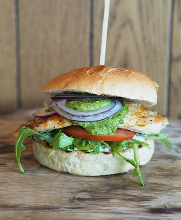 Dognvill Bar & Burger: Chicken breast on bread with tomato, red onions, rocket, aioli and Salsa Verde.