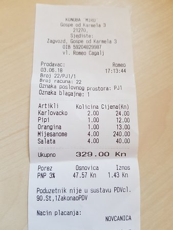 Zagvozd, Kroatia: Bill for mixed meat