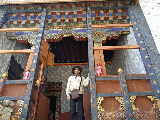 At the entrance of KURJE LHAKHANG MONASTERY