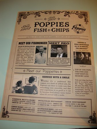 Poppies Fish and Chips Camden: menù