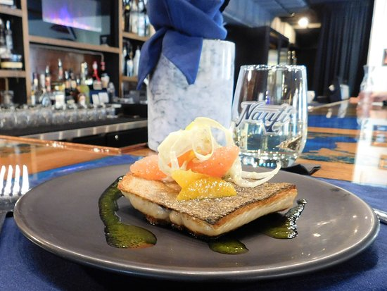 The Nauti Inn Barstro: Signiture dishes: Pan Seared local Lake Trout with Yuzu Citrus Fennel Slaw