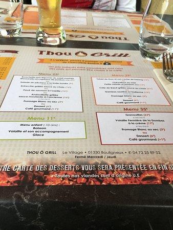 Restaurant Le Thou: Carte de menue