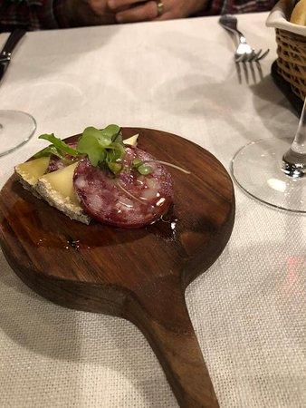 Azafran: Cheese and salami small platter