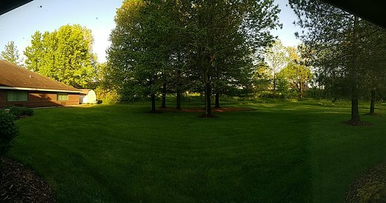 Fremont, MI: View from our room window, It's like camping in a park ... but without the bugs!