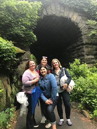 Richie's Central Park Pedicab Tours: Our Group in front on tunnel