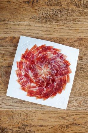 Platter of Jamón ibérico, enjoy and beautiful and tasty ham platter