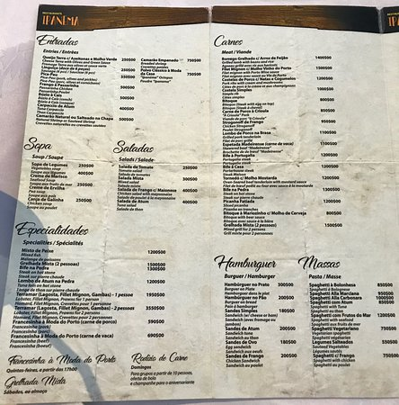 Ipanema: Menu (not everything is always available)