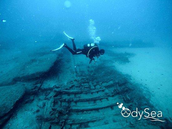 OdySea: Foto de nuestra inmersión en Chaparro, un conjunto de 3 barcas hundidas de pesca.